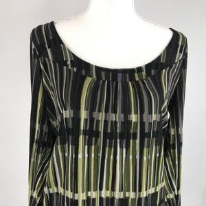 Axcess Womens L Black Geometric Patterned Blouse